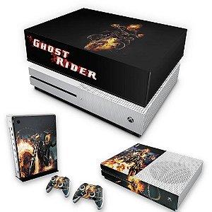 KIT Xbox One S Slim Skin e Capa Anti Poeira - Ghost Rider - Motoqueiro Fantasma #A