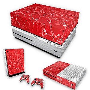 KIT Xbox One S Slim Skin e Capa Anti Poeira - Aquático Água Vermelha