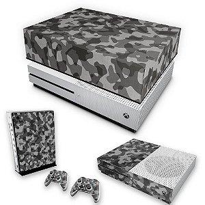 KIT Xbox One S Slim Skin e Capa Anti Poeira - Camuflagem Cinza
