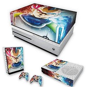 KIT Xbox One S Slim Skin e Capa Anti Poeira - Dragon Ball Super Vegeta SSJ GOD