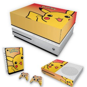 KIT Xbox One S Slim Skin e Capa Anti Poeira - Pokemon Pikachu