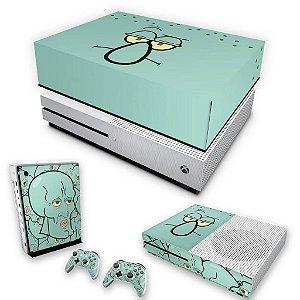 KIT Xbox One S Slim Skin e Capa Anti Poeira - Lula Molusco Bob Esponja