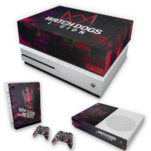 KIT Xbox One S Slim Skin e Capa Anti Poeira - Watch Dogs Legion