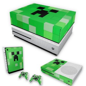 KIT Xbox One S Slim Skin e Capa Anti Poeira - Creeper Minecraft