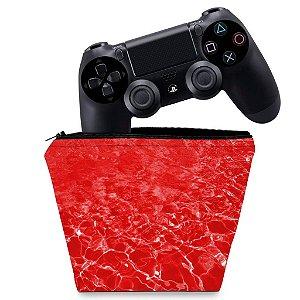 Capa PS4 Controle Case - Aquático Água Vermelha