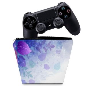 Capa PS4 Controle Case - Folhas Lilás