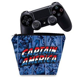 Capa PS4 Controle Case - Capitão América Comics