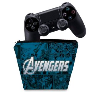 Capa PS4 Controle Case - Avengers Vingadores Comics