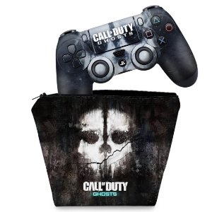 KIT Capa Case e Skin PS4 Controle  - Call Of Duty Ghosts