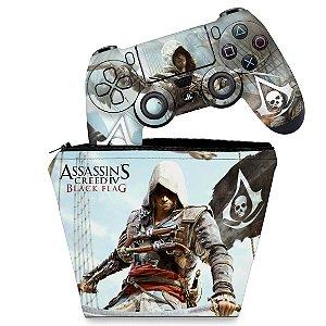 KIT Capa Case e Skin PS4 Controle  - Assassins Creed Black Flag