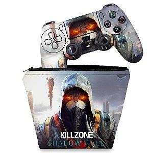 KIT Capa Case e Skin PS4 Controle  - Killzone Shadow Fall