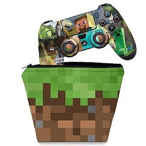 KIT Capa Case e Skin PS4 Controle  - Minecraft