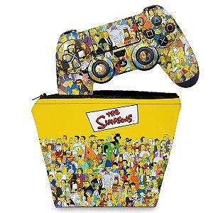 KIT Capa Case e Skin PS4 Controle  - The Simpsons