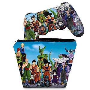 KIT Capa Case e Skin PS4 Controle  - Dragon Ball Z #A