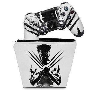 KIT Capa Case e Skin PS4 Controle  - Wolverine - X Men