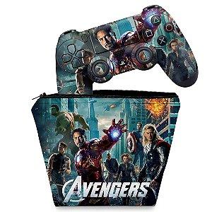 KIT Capa Case e Skin PS4 Controle  - The Avengers - Os Vingadores