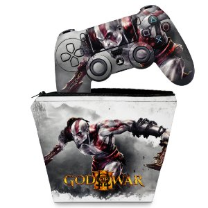 KIT Capa Case e Skin PS4 Controle  - God Of War #A