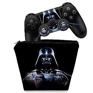 KIT Capa Case e Skin PS4 Controle  - Star Wars - Darth Vader