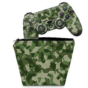KIT Capa Case e Skin PS4 Controle  - Camuflagem Exercito