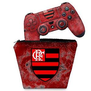 KIT Capa Case e Skin PS4 Controle  - Flamengo