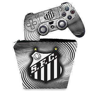 KIT Capa Case e Skin PS4 Controle  - Santos