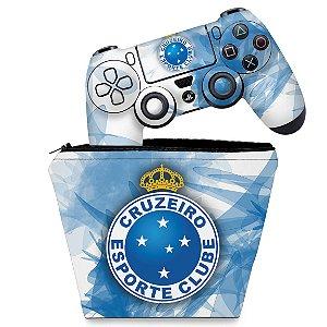KIT Capa Case e Skin PS4 Controle  - Cruzeiro