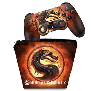 KIT Capa Case e Skin PS4 Controle  - Mortal Kombat