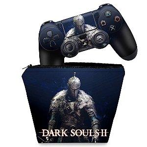 KIT Capa Case e Skin PS4 Controle  - Dark Souls 2