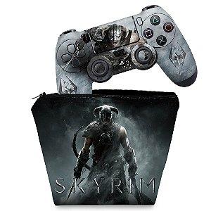 KIT Capa Case e Skin PS4 Controle  - Skyrim
