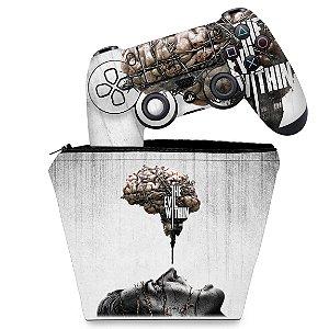 KIT Capa Case e Skin PS4 Controle  - The Evil Within