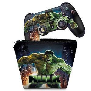 KIT Capa Case e Skin PS4 Controle  - Hulk