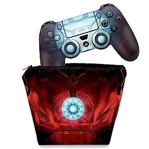 KIT Capa Case e Skin PS4 Controle  - Iron Man - Homem De Ferro