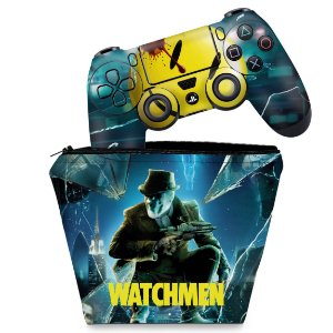KIT Capa Case e Skin PS4 Controle  - Watchmen