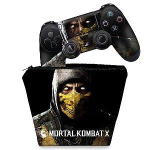 KIT Capa Case e Skin PS4 Controle  - Mortal Kombat X