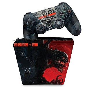 KIT Capa Case e Skin PS4 Controle  - Evolve