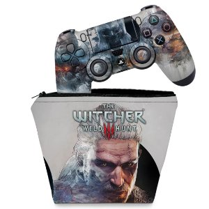 KIT Capa Case e Skin PS4 Controle  - The Witcher #B