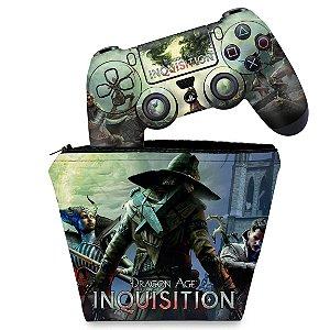 KIT Capa Case e Skin PS4 Controle  - Dragon Age Inquisition