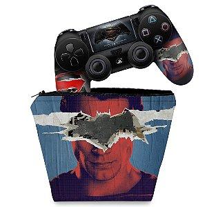 KIT Capa Case e Skin PS4 Controle  - Batman Vs Superman