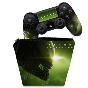 KIT Capa Case e Skin PS4 Controle  - Alien Isolation