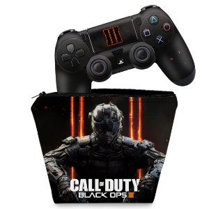 KIT Capa Case e Skin PS4 Controle  - Call Of Duty Black Ops 3