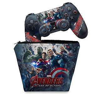 KIT Capa Case e Skin PS4 Controle  - Avengers - Age Of Ultron