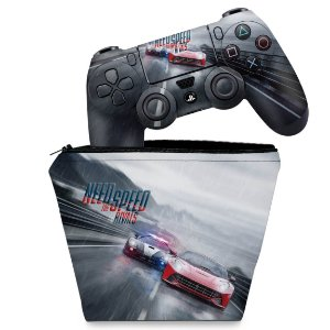 KIT Capa Case e Skin PS4 Controle  - Need For Speed Rivals