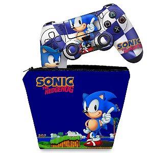 KIT Capa Case e Skin PS4 Controle  - Sonic The Hedgehog