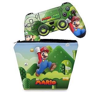 KIT Capa Case e Skin PS4 Controle  - Super Mario Bros
