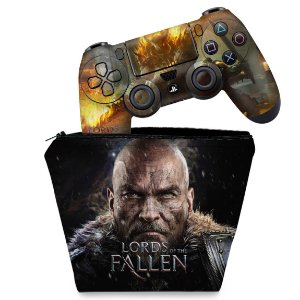 KIT Capa Case e Skin PS4 Controle  - Lords Of The Fallen