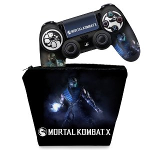 KIT Capa Case e Skin PS4 Controle  - Mortal Kombat X - Sub Zero