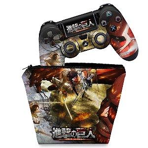 KIT Capa Case e Skin PS4 Controle  - Attack On Titan - Shingeki No Kyojin #A