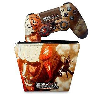 KIT Capa Case e Skin PS4 Controle  - Attack On Titan - Shingeki No Kyojin #B