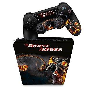 KIT Capa Case e Skin PS4 Controle  - Ghost Rider #A