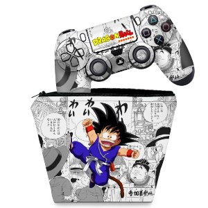 KIT Capa Case e Skin PS4 Controle  - Dragon Ball Z #B